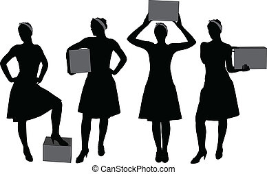 Woman carrying box silhouette - Woman carrying box. Courier...