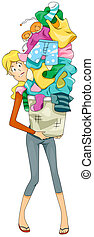 Dirty Laundry - Woman carrying Dirty Laundry with Clipping...