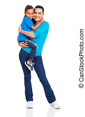 woman carrying her little girl