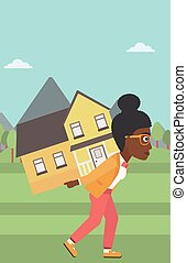 Woman carrying house vector illustration.