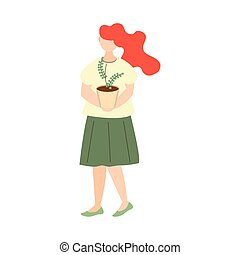 woman carrying potted plant gardening icon on white background