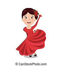 woman cartoon dancer flamenco design