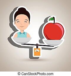woman cartoon fruit food balance