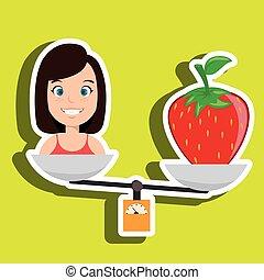 woman cartoon fruit strawberry food balance
