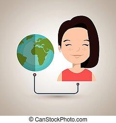 woman cartoon globe planet connected vector illustration eps...