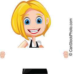 woman cartoon holding blank sign