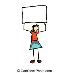 woman cartoon holding blank sign icon image