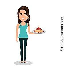 woman cartoon holding dessert cake isolated