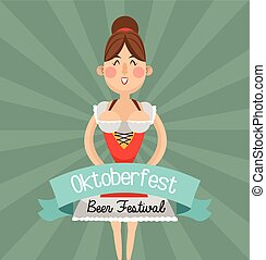 woman cartoon  oktoberfest design
