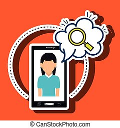 woman cartoon smartphone cloud search