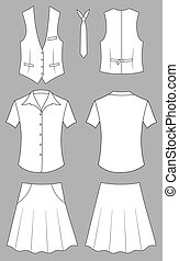 The suit of the cashier or seller (waistcoat, shirt, tie, skirt) isolated on grey. Outline vector illustration isolated on white. EPS8 file available.