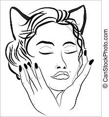 woman-cat, gezicht, mooi
