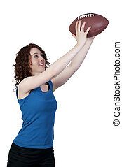 Woman Catching Football