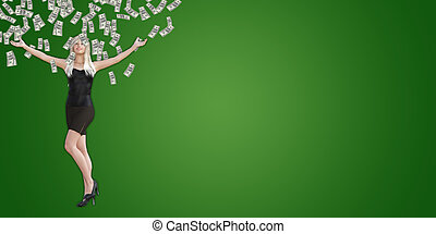 Woman Catching Money Falling From the Sky