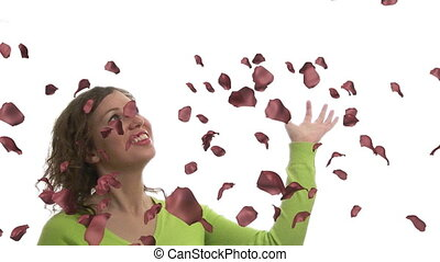 Woman Cathcing Rose Petals