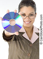 Woman CD Disc - Beautiful Hispanic woman holding up compact...