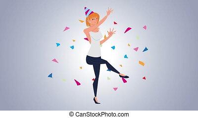 woman celebrating avatar character animation