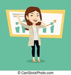Young successful business woman getting good news on mobile phone. Caucasian successful business woman talking on mobile phone. Business success concept. Vector flat design illustration. Square layout