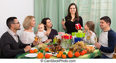 woman celebrating jubilee at festive table - woman ...