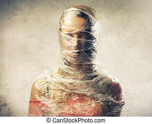 woman cellophane
