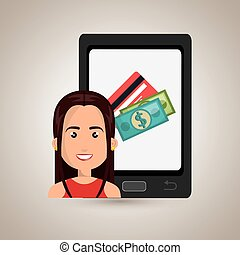 woman cellphone credit card