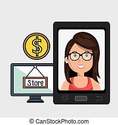 woman cellphone credit card