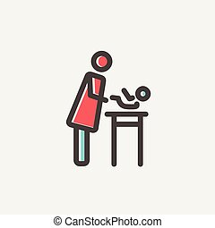 Woman changing the baby diaper thin line icon