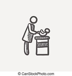 Woman changing the babys diaper sketch icon