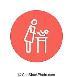 Woman changing the diaper thin line icon