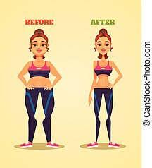Woman character before and after losing weight. Vector flat cartoon illustration