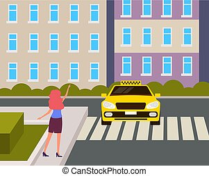 Woman character hitchhiking taxi cab car on city town street. Vector flat graphic design cartoon illustration