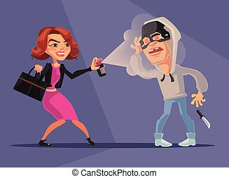Woman character protected herself from robbers. Vector flat...