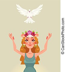 Woman character releases dove of the world. Vector flat cartoon illustration