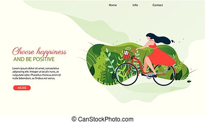Woman Character Riding Bicycle Going on Bike Trip.