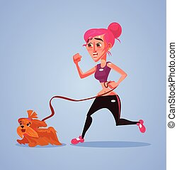Woman character run with dog. Vector flat cartoon illustration