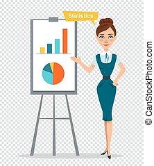 Woman character standing near flipchart. Concept...