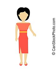Woman Character Template Vector Illustration.