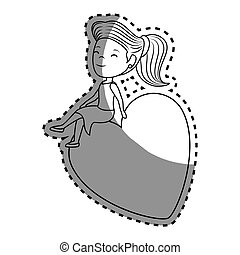 woman character with heart