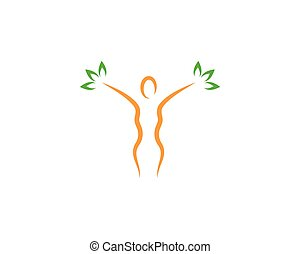 woman character with leaves vector icon illustration