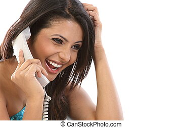 woman chatting in telephone