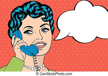 woman chatting on the phone, pop art illustration, vector...