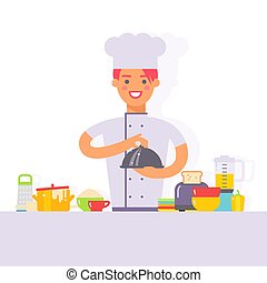 Woman chef cartoon character cooking in kitchen simple flat style vector illustration