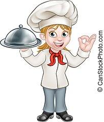 Woman Chef Cartoon Character Mascot