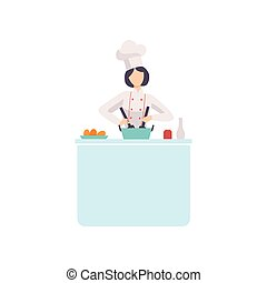 Woman Chef Cook Character Wearing Uniform and Hat Cooking in Kitchen Vector Illustration
