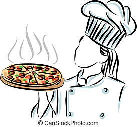 WOMAN CHEF COOKER WITH PIZZA ILLUSTRATION