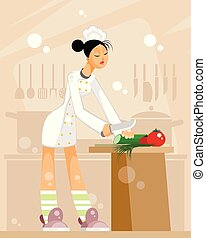Woman chef in the kitchen