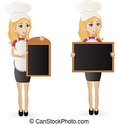 Woman chef with board