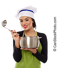 Woman chef with pot and ladle