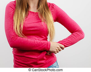 Woman chest, pink blouse and long hair - Part of body female...