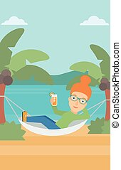 A woman chilling in hammock on the beach with a cocktail in a hand vector flat design illustration. Vertical layout.